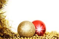 Χριστούγεννα δύο διακόσμηση σφαιρών Στοκ Εικόνα