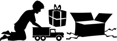 Χριστούγεννα δώρων αγοριών Στοκ φωτογραφίες με δικαίωμα ελεύθερης χρήσης