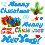Χριστούγεννα εικονιδίων και νέο έτος Ελεύθερη απεικόνιση δικαιώματος