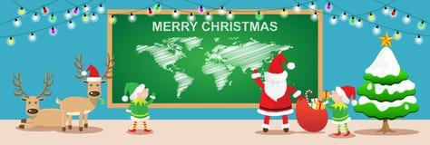 Χριστούγεννα εμβλημάτων εύθυμα Άγιος Βασίλης και elfs εργασία στο δωμάτιο Χριστουγέννων Στοκ φωτογραφία με δικαίωμα ελεύθερης χρήσης