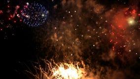 Χριστούγεννα εορτασμού πυροτεχνημάτων και νέο έτος φιλμ μικρού μήκους