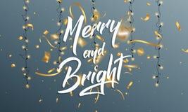 Χριστούγεννα Ευχετήρια κάρτα με την εύθυμη και φωτεινή εγγραφή αποσπάσματος, το χρυσό κομφετί και ligts για τους χαιρετισμούς Χρι Στοκ Εικόνες