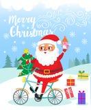 Χριστούγεννα εύθυμα Άγιος Βασίλης στο ποδήλατο με τα δώρα Στοκ Φωτογραφία