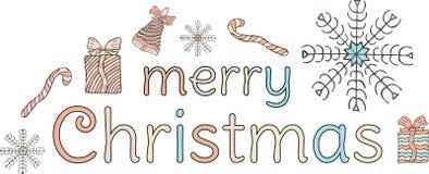 Χριστούγεννα εύθυμα απαγορευμένα Πολύχρωμη επιγραφή, ένα κουδούνι με ένα τόξο, snowflakes, δώρα και καραμέλα-κάλαμοι σε ένα άσπρο απεικόνιση αποθεμάτων