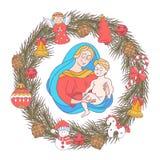Χριστούγεννα εύθυμα διάνυσμα μητέρων s ίριδων χαιρετισμού ημέρας καρτών Η παρθένα Mary και το β διανυσματική απεικόνιση