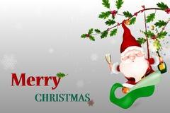 Χριστούγεννα εύθυμα Διανυσματικός ευτυχής χαμογελώντας Άγιος Βασίλης που κρατά ένα κενό σημάδι διανυσματική απεικόνιση