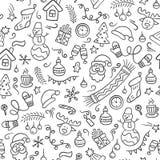 Χριστούγεννα εύθυμα Διανυσματικό άνευ ραφής σχέδιο στο ύφος doodle απεικόνιση αποθεμάτων