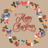 Χριστούγεννα εύθυμα Δώρα, κουδούνια, τόξα και περισσότεροι απεικόνιση αποθεμάτων
