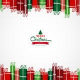 Χριστούγεννα εύθυμα Εκλεκτής ποιότητας κάρτα με τα χριστουγεννιάτικα δώρα αναδρομικό VE Στοκ Φωτογραφίες