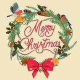 Χριστούγεννα εύθυμα εορταστικό στεφάνι διανυσματική απεικόνιση
