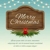 Χριστούγεννα εύθυμα επιβιβαστείτε στο σημάδι ξύλινο Διανυσματική ευχετήρια κάρτα διακοπών Στοκ Φωτογραφία