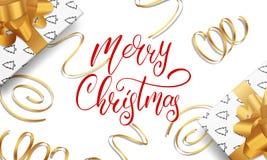 Χριστούγεννα εύθυμα Ευχετήρια κάρτα με την εγγραφή καλλιγραφίας, χρυσές διακοσμήσεις σχεδίου για τους χαιρετισμούς Χριστουγέννων  Στοκ εικόνα με δικαίωμα ελεύθερης χρήσης