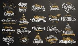 Χριστούγεννα εύθυμα καλή χρονιά Χειρόγραφη σύγχρονη εγγραφή βουρτσών, σύνολο τυπογραφίας