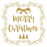 Χριστούγεννα εύθυμα Καλλιγραφία Χριστουγέννων Χειρόγραφη σύγχρονη εγγραφή βουρτσών συρμένο σχέδιο χέρι στοιχ&eps  διανυσματική απεικόνιση