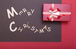 Χριστούγεννα εύθυμα κιβώτιο ευχετήριων καρτών και δώρων πρόσθετα Χριστούγεννα μορφής ανασκόπησης Στοκ φωτογραφία με δικαίωμα ελεύθερης χρήσης