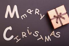 Χριστούγεννα εύθυμα κιβώτιο ευχετήριων καρτών και δώρων πρόσθετα Χριστούγεννα μορφής ανασκόπησης Στοκ Εικόνες