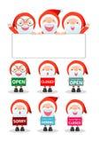 Χριστούγεννα εύθυμα Τα σημάδια εκμετάλλευσης Άγιου Βασίλη, ανοίγουν, κλειστός, θλιβερός, μίσθωση, Santa που παρουσιάζει πίνακα αφ ελεύθερη απεικόνιση δικαιώματος