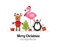 Χριστούγεννα εύθυμα Χαριτωμένα ζώα Χριστουγέννων Τάρανδος, φλαμίγκο και penguin Απομονωμένο διάνυσμα απεικόνιση αποθεμάτων