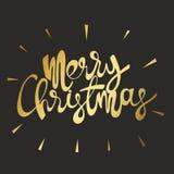 Χριστούγεννα εύθυμα Χρυσή επιγραφή σε ένα μαύρο υπόβαθρο Στοκ Εικόνες
