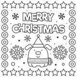 Χριστούγεννα εύθυμα Χρωματίζοντας σελίδα Γραπτή διανυσματική απεικόνιση στοκ φωτογραφία με δικαίωμα ελεύθερης χρήσης