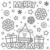 Χριστούγεννα εύθυμα Χρωματίζοντας σελίδα Γραπτή διανυσματική απεικόνιση στοκ φωτογραφίες με δικαίωμα ελεύθερης χρήσης