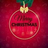 Χριστούγεννα εύθυμα background colors holiday red yellow Ευχετήρια κάρτα Χριστουγέννων με το μπιχλιμπίδι αφίσα διανυσματική απεικόνιση