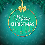 Χριστούγεννα εύθυμα background colors holiday red yellow Ευχετήρια κάρτα Χριστουγέννων με το μπιχλιμπίδι αφίσα απεικόνιση αποθεμάτων