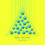 Χριστούγεννα η διανυσματική έκδοση δέντρων χαρτοφυλακίων μου Παράδοση των σφαιρών Πράσινος ελεύθερη απεικόνιση δικαιώματος