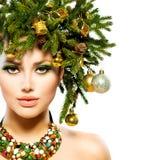 Χριστούγεννα διακοπές Hairstyle Στοκ φωτογραφία με δικαίωμα ελεύθερης χρήσης