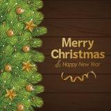 Χριστούγεννα διακοσμήσεων με το ξύλινο υπόβαθρο διανυσματική απεικόνιση