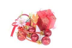 Χριστούγεννα και νέα αντικείμενα διακοσμήσεων έτους Στοκ Εικόνα