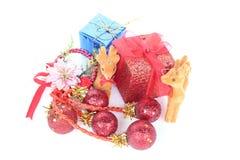 Χριστούγεννα και νέα αντικείμενα διακοσμήσεων έτους Στοκ φωτογραφία με δικαίωμα ελεύθερης χρήσης