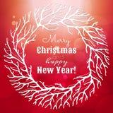 Χριστούγεννα και νέα απεικόνιση έτους με το στεφάνι Στοκ εικόνα με δικαίωμα ελεύθερης χρήσης