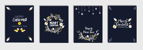 Χριστούγεννα και νέα δέσμη καρτών προτύπων έτους ` s καθορισμένη, σκούρο μπλε διάνυσμα υποβάθρου ναυτικού Στοκ φωτογραφία με δικαίωμα ελεύθερης χρήσης