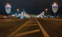 Χριστούγεννα και νέα διακόσμηση έτους στη Μόσχα Στοκ φωτογραφία με δικαίωμα ελεύθερης χρήσης