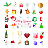 Χριστούγεννα και νέα εικονίδια έτους Στοκ Εικόνα