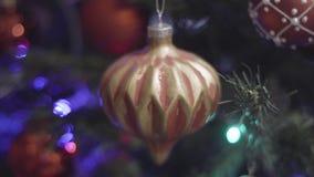 Χριστούγεννα και νέα εκλεκτής ποιότητας διακόσμηση έτους Θολωμένο περίληψη υπόβαθρο διακοπών Bokeh Αναβοσβήνοντας γιρλάντα Χριστο απόθεμα βίντεο