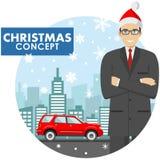 Χριστούγεννα και νέα επιχειρησιακή έννοια έτους Λεπτομερής απεικόνιση του νέου επιχειρηματία στο καπέλο Άγιου Βασίλη στο υπόβαθρο Στοκ εικόνα με δικαίωμα ελεύθερης χρήσης