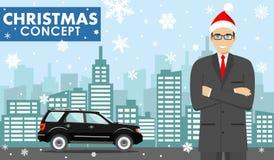 Χριστούγεννα και νέα επιχειρησιακή έννοια έτους Λεπτομερής απεικόνιση του νέου επιχειρηματία στο καπέλο Άγιου Βασίλη στο υπόβαθρο Στοκ Φωτογραφίες