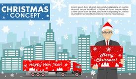 Χριστούγεννα και νέα επιχειρησιακή έννοια έτους Λεπτομερής απεικόνιση του νέου επιχειρηματία στη λαβή καπέλων Άγιου Βασίλη το κιβ Στοκ φωτογραφίες με δικαίωμα ελεύθερης χρήσης