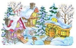 Χριστούγεννα και νέα ευχετήρια κάρτα έτους με τα σπίτια εξοχικών σπιτιών και τα δέντρα έλατου που απομονώνονται στο λευκό απεικόνιση αποθεμάτων
