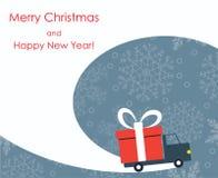 Χριστούγεννα και νέα ευχετήρια κάρτα έτους με το φορτηγό παράδοσης δώρων Στοκ Εικόνες