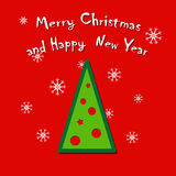 Χριστούγεννα και νέα ευχετήρια κάρτα έτους Στοκ Εικόνες