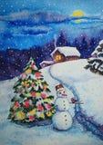 Χριστούγεννα και νέα ζωγραφική watercolor καρτών έτους Στοκ Εικόνα