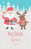 Χριστούγεννα και νέα κάρτα έτους με Άγιο Βασίλη και τον τάρανδο διανυσματική απεικόνιση