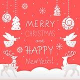 Χριστούγεννα και νέα κάρτα έτους με τα σύμβολα διακοπών απεικόνιση αποθεμάτων