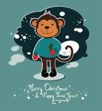 Χριστούγεννα και νέα κάρτα έτους με τον πίθηκο Στοκ φωτογραφία με δικαίωμα ελεύθερης χρήσης