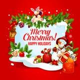 Χριστούγεννα και νέα κάρτα έτους με το δώρο και το χιονάνθρωπο ελεύθερη απεικόνιση δικαιώματος