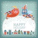 Χριστούγεννα και νέα κάρτα έτους διανυσματική απεικόνιση