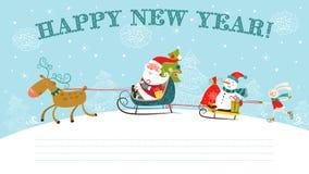 Χριστούγεννα και νέα κάρτα έτους. Στοκ Εικόνες